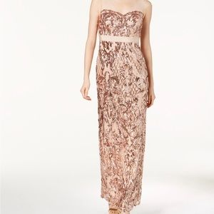 Rose gold sequined gown !